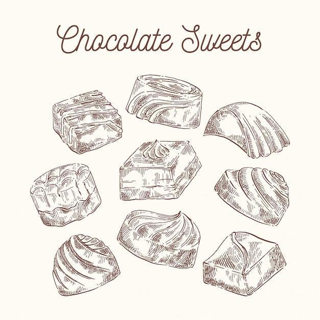 Sammlung skizzenschokoladenbonbons Premium Vektoren