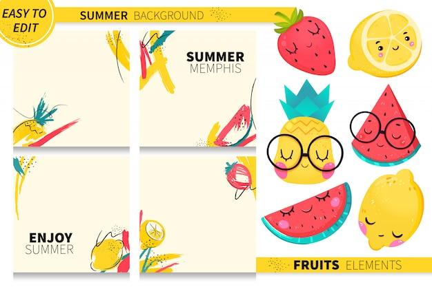 Sammlung sommer trägt mit abstraktem memphis-hintergrund früchte. wassermelone, zitrone, erdbeere. Premium Vektoren