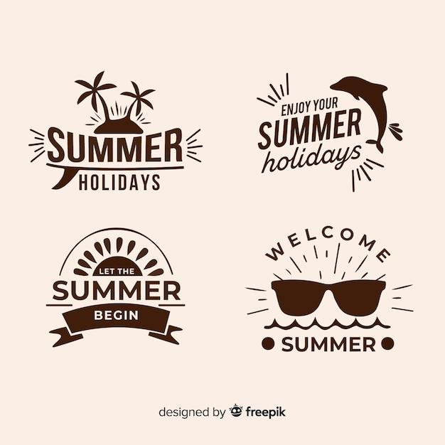 Sammlung unbedeutender sommerlogos Kostenlosen Vektoren