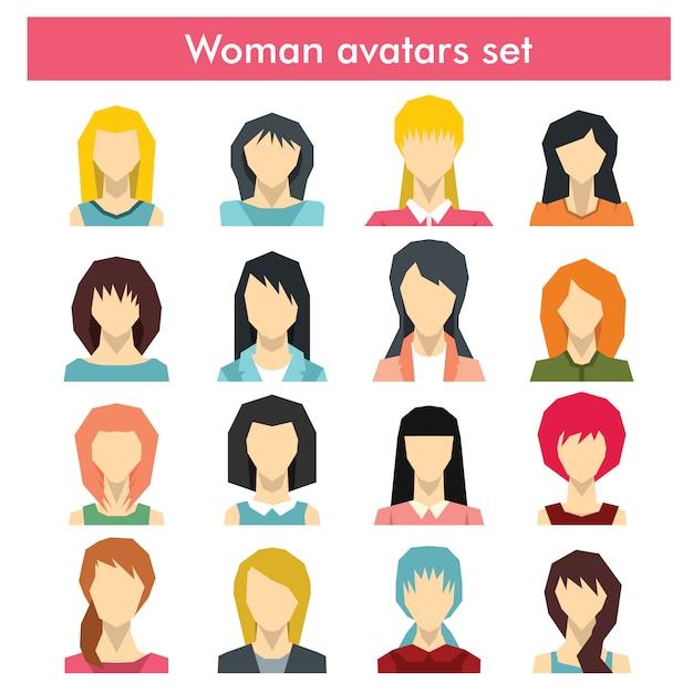 Sammlung verschiedene charaktere und alter des bunten weiblichen avatars des flachen benutzers Premium Vektoren