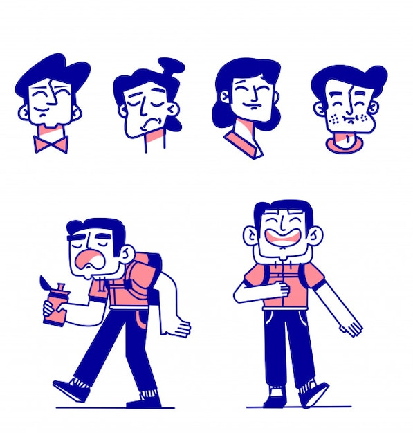 Sammlung verschiedener ausdrücke von glücklichen menschen, mischalter drücken positive gefühle aus Premium Vektoren