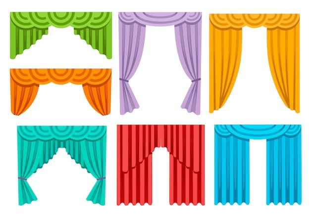 Sammlung verschiedener bunter vorhänge. luxus-innenausstattung aus seidenvorhängen. illustration auf weißem hintergrund Premium Vektoren