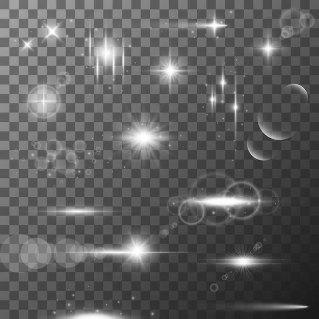 Sammlung verschiedener flare-lichteffekte. Premium Vektoren