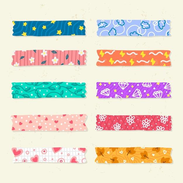 Sammlung verschiedener gezeichneter washi-bänder Kostenlosen Vektoren