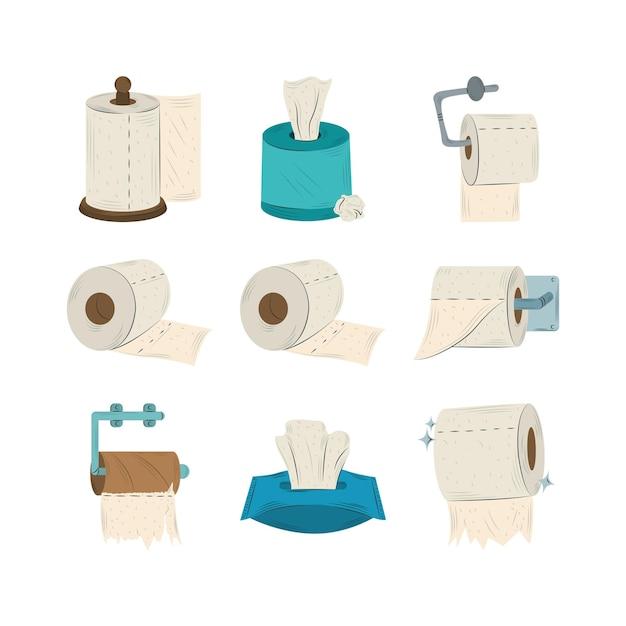Sammlung verschiedener gruppen von toilettenpapierrollenillustration Premium Vektoren