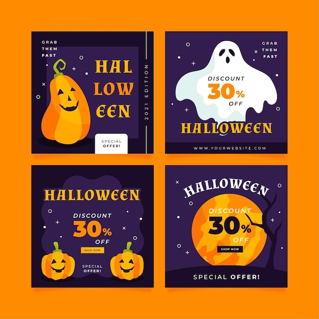 Sammlung verschiedener halloween instagram beiträge Kostenlosen Vektoren