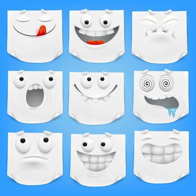 Sammlung verschiedenes weißes emoticonzeichentrickfilm-figuren-briefpapier mit gekräuselter ecke. Premium Vektoren