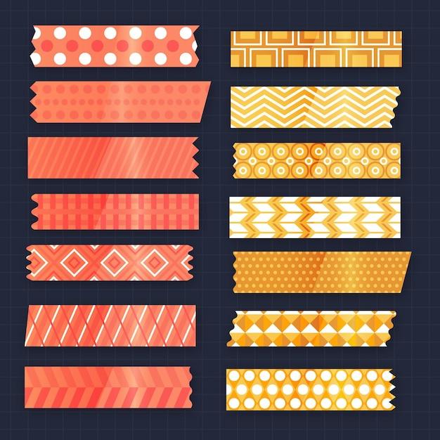 Sammlung verschiedenfarbiger flacher washi-bänder Kostenlosen Vektoren