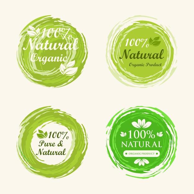 Sammlung von 100% natürlichen grünen etiketten Premium Vektoren