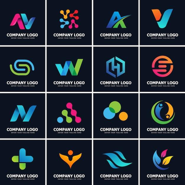 Sammlung von 16 modernen logo designs vorlage Premium Vektoren