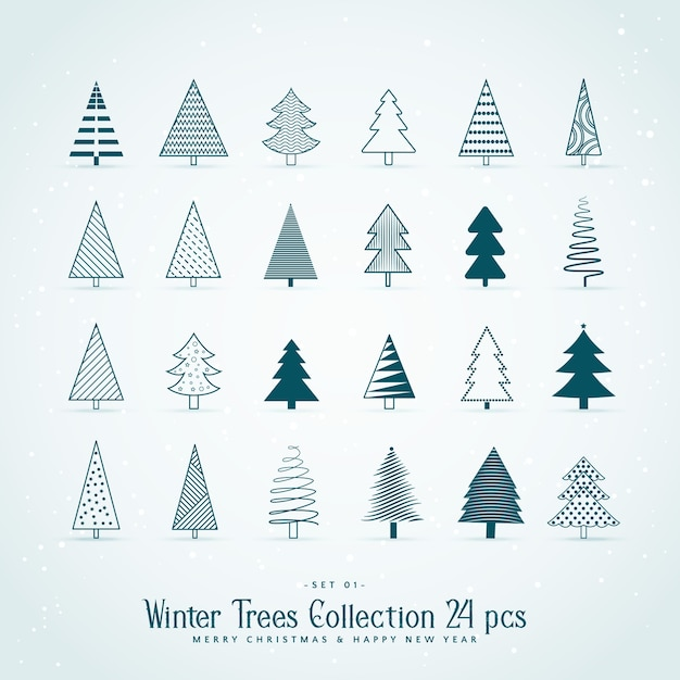 Sammlung Von 20 Kreativen Weihnachtsbaum Design Premium Vektor