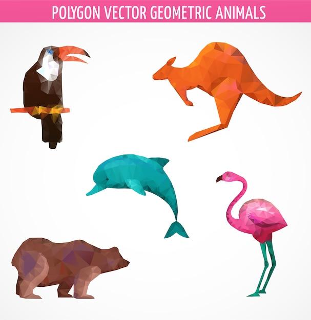 Sammlung von abstrakten polygonalen vektor-tieren und vögeln. vektorillustration Premium Vektoren