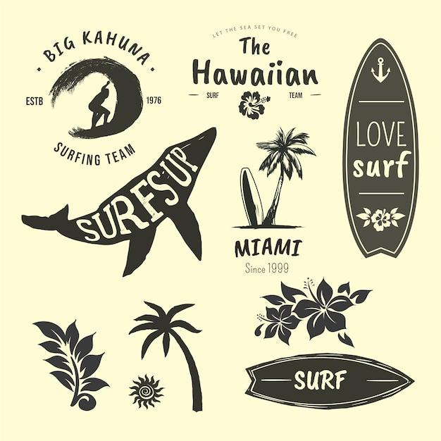 Sammlung von abzeichen für surfer Kostenlosen Vektoren