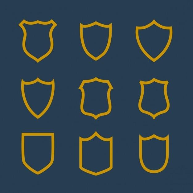 Sammlung von abzeichen symbol in linienstil Kostenlosen Vektoren