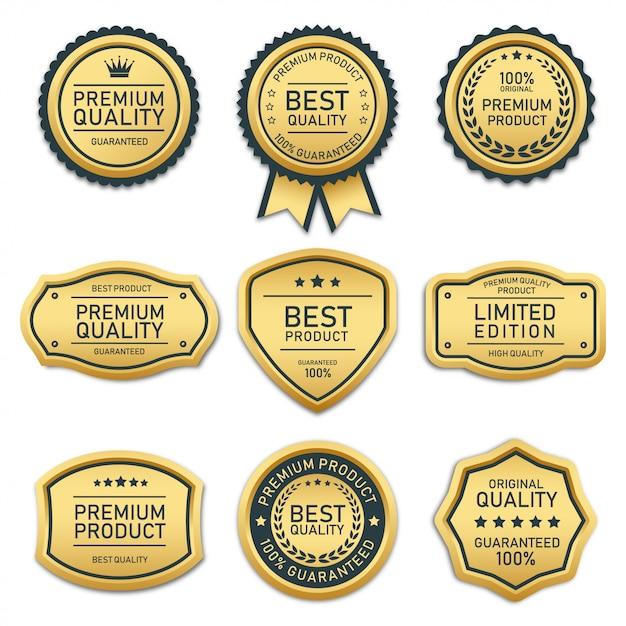Sammlung von abzeichen und etiketten von bester qualität Premium Vektoren