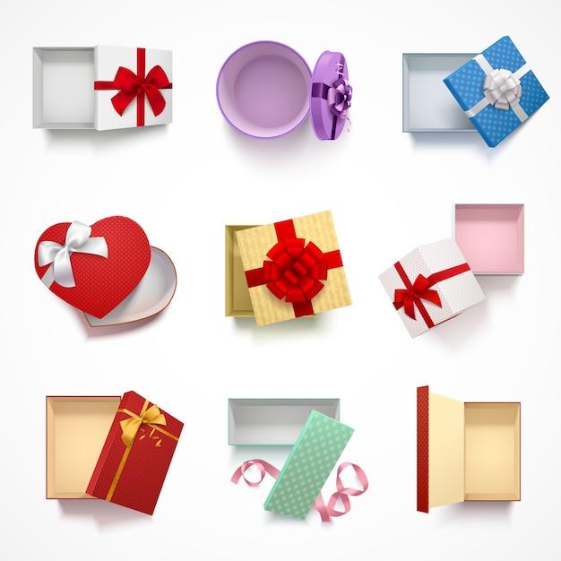 Sammlung von acht lokalisierten realistische geschenkboxen der draufsicht mit oberer abdeckung und verschiedenen verzierungsmustern Kostenlosen Vektoren