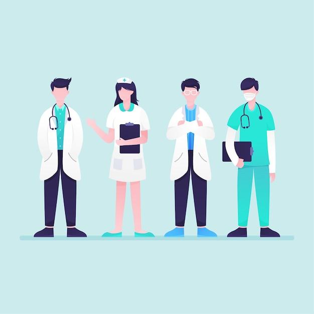 Sammlung von angehörigen der gesundheitsberufe Kostenlosen Vektoren