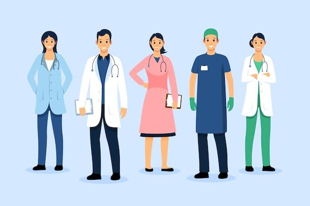 Sammlung von angehörigen der gesundheitsberufe Premium Vektoren