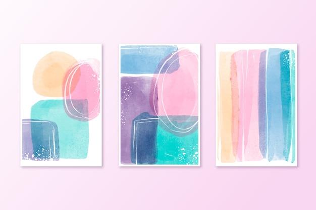Sammlung von aquarell umfasst pastellfarben Kostenlosen Vektoren