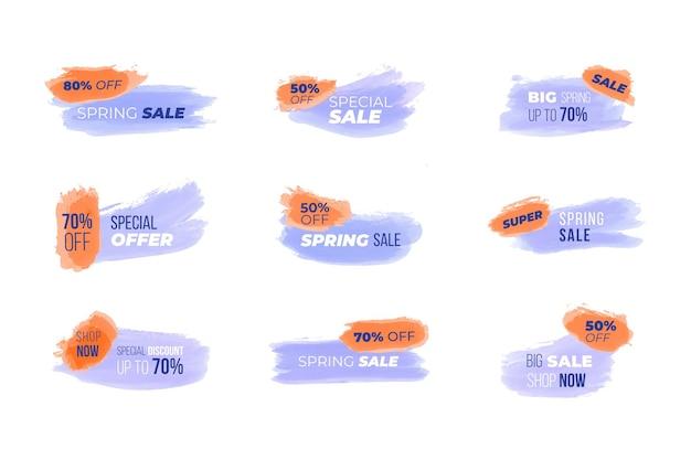 Sammlung von aquarelllinienbannern zum verkauf Kostenlosen Vektoren