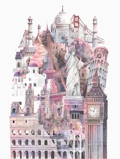 Sammlung von architektonischen sehenswürdigkeiten von aquarell gemalt Kostenlosen Vektoren