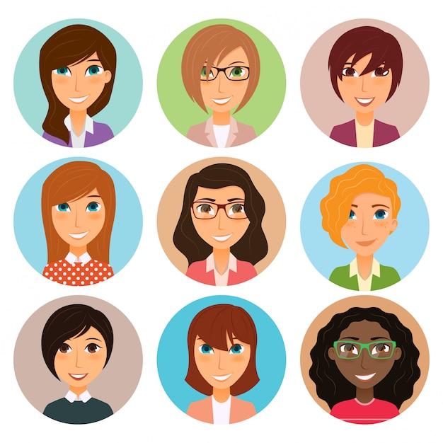 Sammlung von avataren verschiedener charaktere junger frauen Premium Vektoren