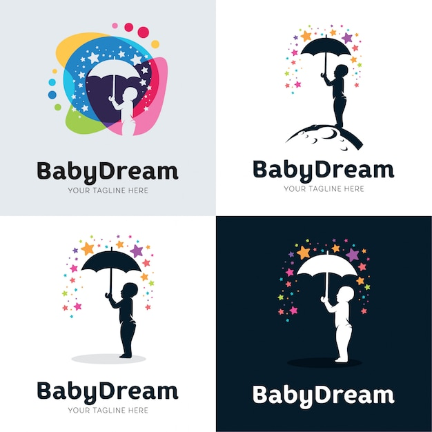Sammlung von baby dream set design template Premium Vektoren