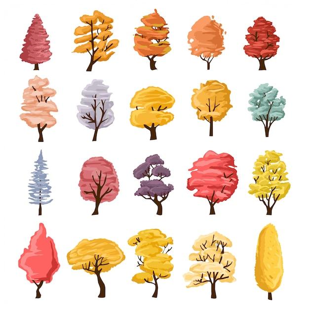 Sammlung von bäumen illustrationen. kann verwendet werden, um irgendein thema der natur oder des gesunden lebensstils zu veranschaulichen. Premium Vektoren