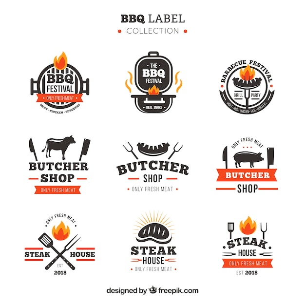 Sammlung von barbecue-etiketten Premium Vektoren