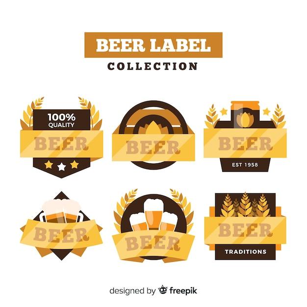 Sammlung von bieretiketten Kostenlosen Vektoren