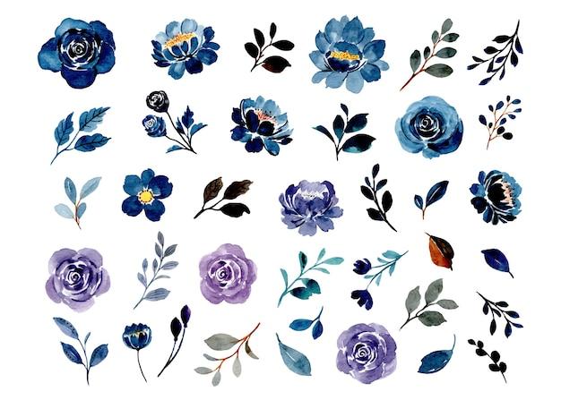 Sammlung von blauen und lila aquarellblumenelementen Premium Vektoren