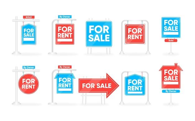 Sammlung von blauen und roten verkaufsimmobilienschildern Kostenlosen Vektoren