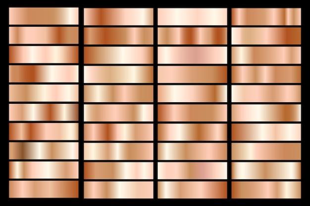 Sammlung von bronze metallic gradienten. brillante teller mit bronzeeffekt. Premium Vektoren