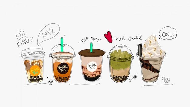 Sammlung von bubble tea, pearl milchtee und kaffee. Premium Vektoren