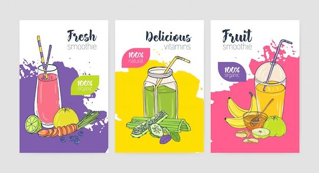 Sammlung von bunten flyer- oder plakatvorlagen mit erfrischenden kalten getränken und smoothies aus exotischen tropischen früchten und gemüse. Premium Vektoren