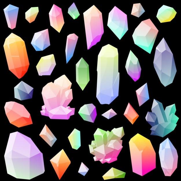 Sammlung von bunten vektor-kristalle Kostenlosen Vektoren