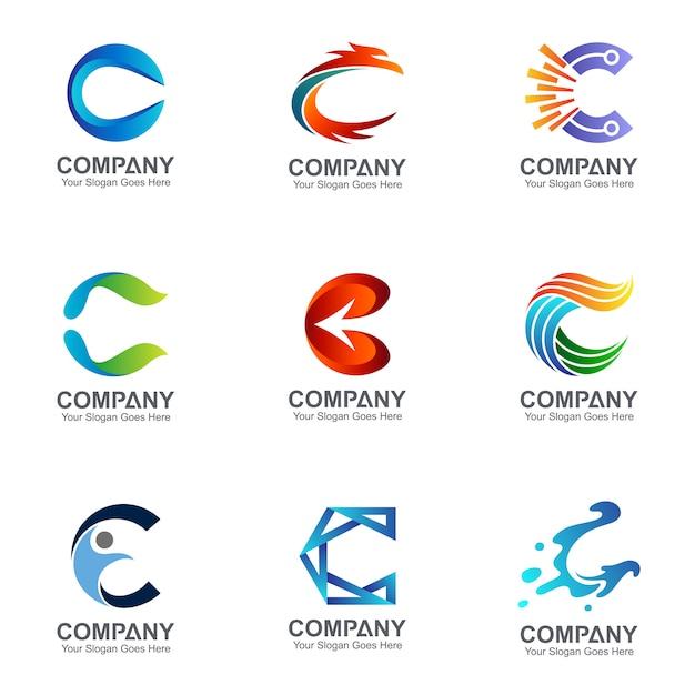 Sammlung von C-Buchstaben-Logos in vielen Stilen Premium Vektoren