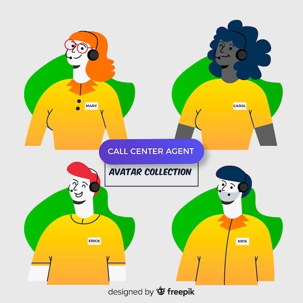 Sammlung von call-center-avataren Kostenlosen Vektoren