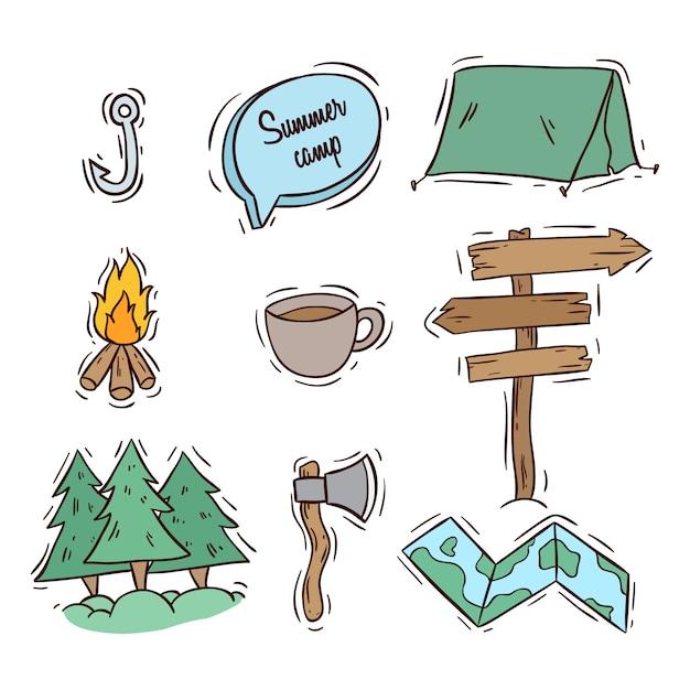 Sammlung von camp-icons Premium Vektoren
