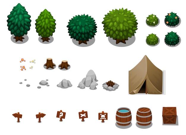 Sammlung von campingobjekten Premium Vektoren