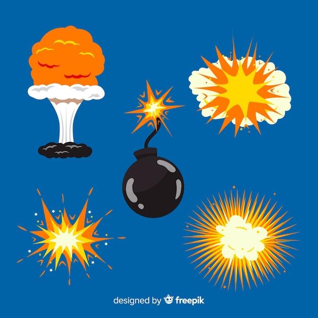 Sammlung von cartoon-explosionseffekten Kostenlosen Vektoren