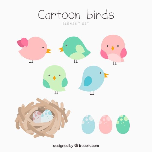Sammlung von cartoon vögel und nester Kostenlosen Vektoren
