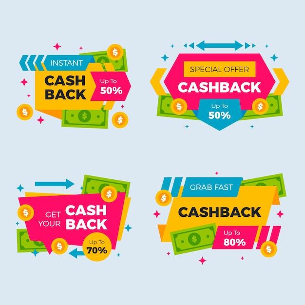 Sammlung von cashback-etiketten Kostenlosen Vektoren