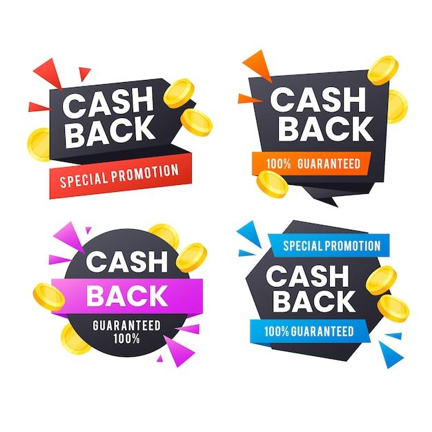Sammlung von cashback-etiketten Premium Vektoren