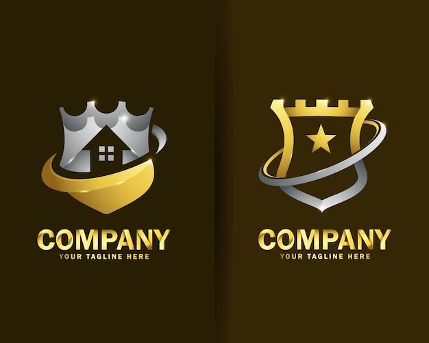 Sammlung von castle shield logo design-vorlagen Premium Vektoren