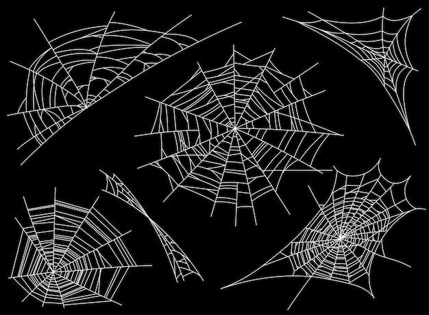 Sammlung von cobweb, isoliert auf schwarz. spinnennetz. gruselig, gruselig, horrordekor Premium Vektoren