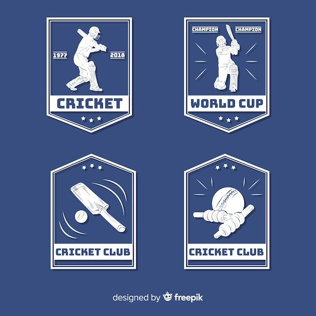 Sammlung von cricket-etiketten Kostenlosen Vektoren