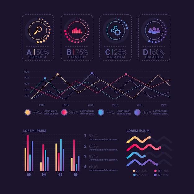 Sammlung von dashboard-elementen Kostenlosen Vektoren
