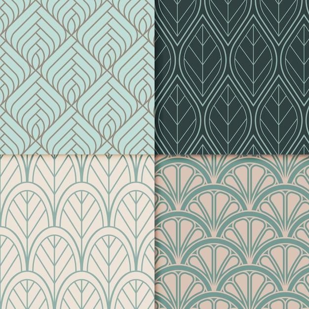 Sammlung von dekorativen art-deco-mustern Premium Vektoren