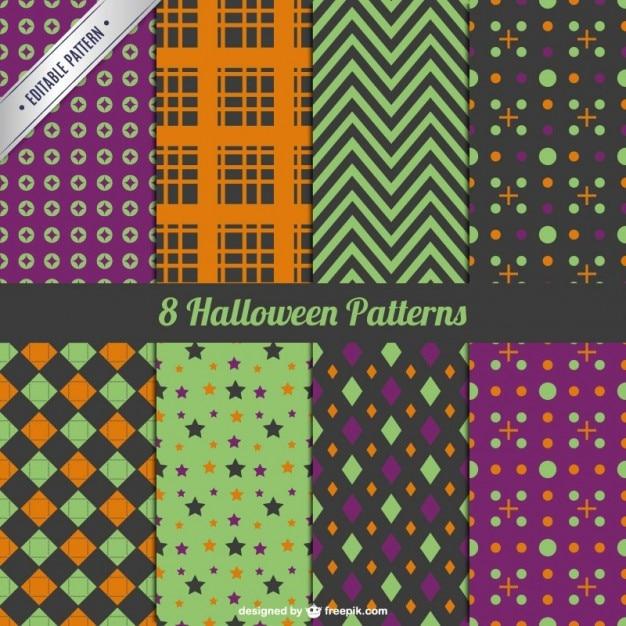Sammlung von dekorativen halloween-muster Kostenlosen Vektoren